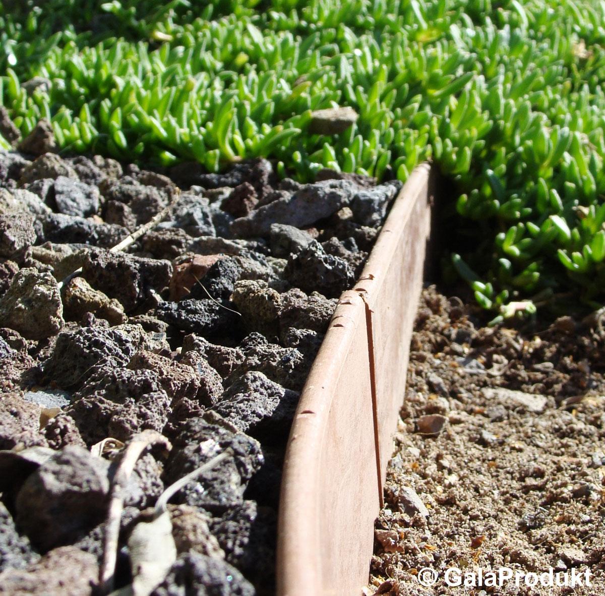 Idealny do odgradzania grysu od kory lub innych materiałów ściółkujacych
